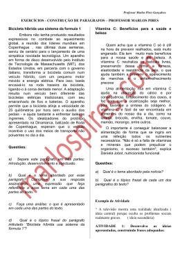 EXERCÍCIOS - CONSTRUÇÃO DE PARÁGRAFOS – PROFESSOR