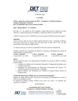 COMUNICADO Nº 01/2015 PARA: Alunos dos cursos técnicos do DET