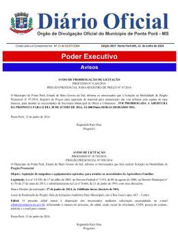Poder Executivo - Prefeitura Municipal de Ponta Porã