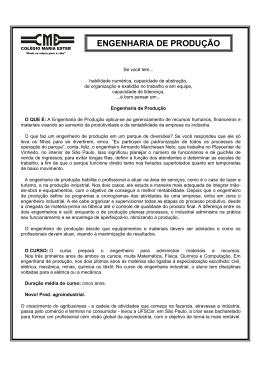 ENGENHARIA DE PRODUÇÃO - Colégio Maria Ester I