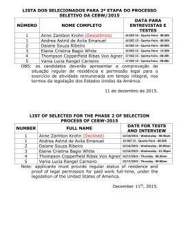 lista dos selecionados para 2ª etapa do processo seletivo da cebw