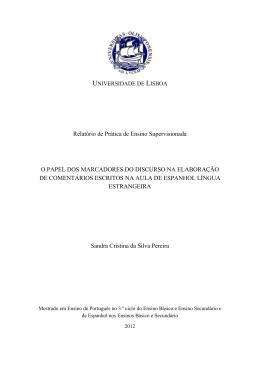 Relatório de Prática de Ensino Supervisionada O PAPEL DOS