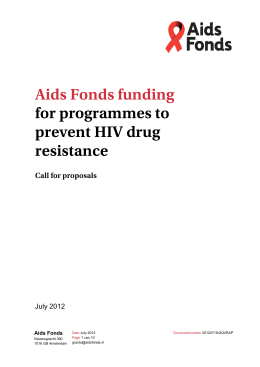 Aids Fonds funding for programmes to prevent HIV drug resistance