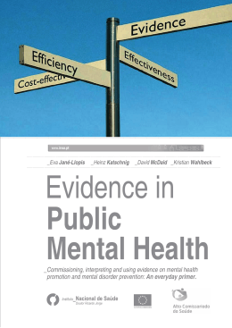 1. Why evidence-based promotion and prevention in mental health?