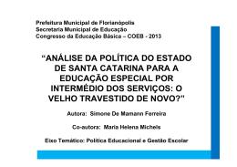 Sobre a Educação Especial - Prefeitura Municipal de Florianópolis