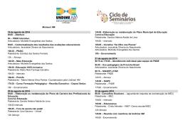 Manaus/ AM 19 de agosto de 2014 8h30 – Abertura 9h – PDDE