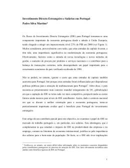 Investimento Directo Estrangeiro e Salários em Portugal Pedro Silva