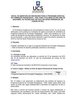 Edital de Abertura de Inscrições para o Programa Especial de