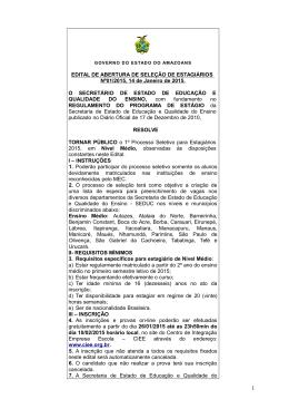 EDITAL DE ABERTURA DE SELEÇÃO DE ESTAGIÁRIOS