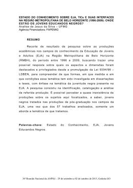 ESTADO DO CONHECIMENTO SOBRE EJA, TICs E SUAS
