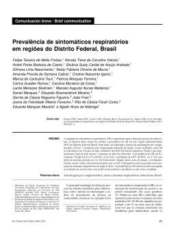 Prevalência de sintomáticos respiratórios em regiões do