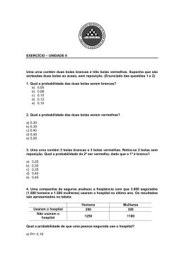 Lista sobre cálculo de probabilidades