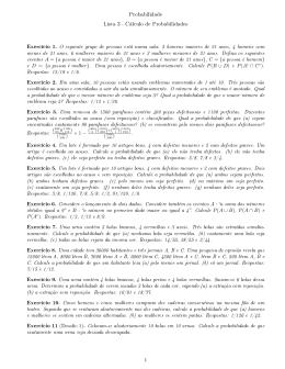 Probabilidade Lista 3 - Cálculo de Probabilidades