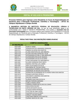 EDITAL Nº 022.3/2015 PROEN/IFMS