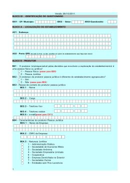 Versão 28/10/2011 BLOCO ID – IDENTIFICAÇÃO DO
