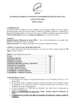 EDITAL EXAMES DE ADMISSÃO AO INSTITUTO