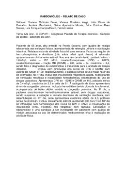 RABDOMIÓLISE – RELATO DE CASO Salomón Soriano