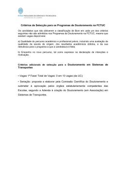 Critérios de Selecção para os Programas de Doutoramento na
