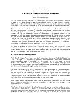 A RELEVÂNCIA DOS CREDOS E CONFISSÕES