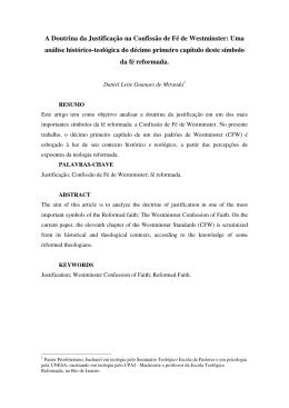 A Doutrina da Justificação na Confissão de Fé de