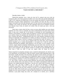 2° Catequese de Bento XVI na Audiência Geral de quarta