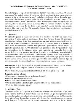 Lectio - 27º domingo comum Ano C