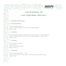 LISTA DE MATERIAL - 2013 2º ANO / ENSINO MÉDIO – MOPI TIJUCA