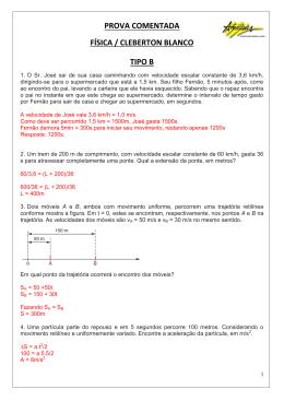PROVA COMENTADA FÍSICA / CLEBERTON BLANCO TIPO B