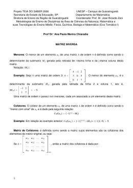 Revisão de Matrizes inversas