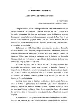 CLÁSSICOS DA GEOGRAFIA A GEOGRAFIA DE PIERRE