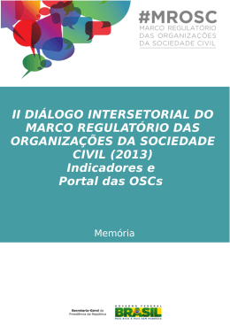 II DIÁLOGO INTERSETORIAL DO MARCO