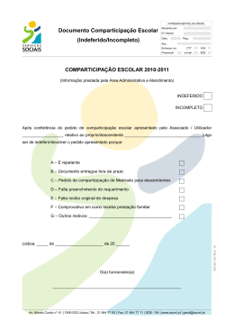 Documento Comparticipação Escolar (Indeferido/Incompleto)
