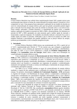 Migração nos Mercados Livre e Cativo de Energia Elétrica no Brasil