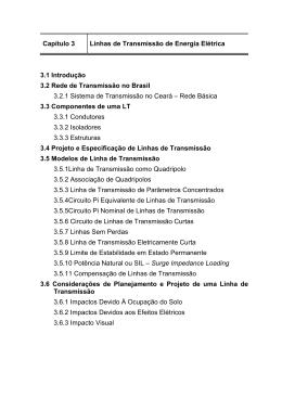 Capítulo 3 Linhas de Transmissão de Energia Elétrica 3.1