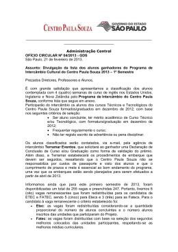 Programa de Intercâmbio Cultural do Centro Paula Souza 2013