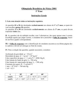 Olimpíada Brasileira de Física 2001 1 Fase