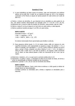 Página 1 de 5 Questões 2ª Fase 1) A usina hidrelétrica de Itaipu
