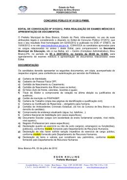 edital de convocação nº 015/2012
