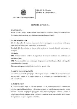 SERVIÇO PÚBLICO FEDERAL Ministério da Educação Secretaria