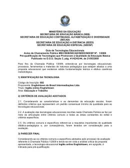 MINISTÉRIO DA EDUCAÇÃO SECRETARIA DE