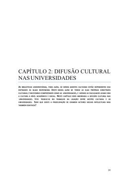 capítulo 2: difusão cultural nas universidades