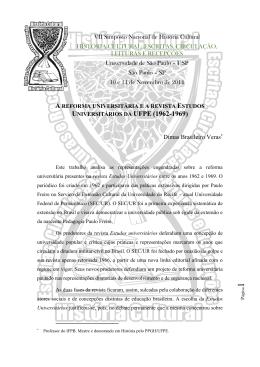 A Reforma Universitária e A Revista Estudos Universitários da UFPE