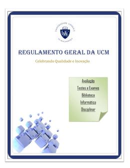 Regulamento Geral da UCM - Universidade Católica de