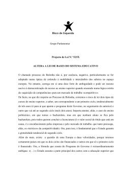 Grupo Parlamentar Projecto de Lei N.º 52/IX ALTERA A LEI DE
