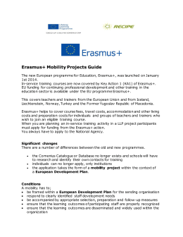 The new European programme for Education