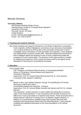 Curriculum Vitae - University of Plymouth Computer Music Research