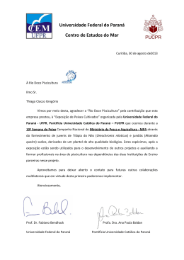 Universidade Federal do Paraná Centro de Estudos do Mar