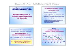 Modelos Clássicos e Cálculo dos Parâmetros de Controle