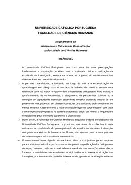 Regulamento do Mestrado em Ciências da Comunicação
