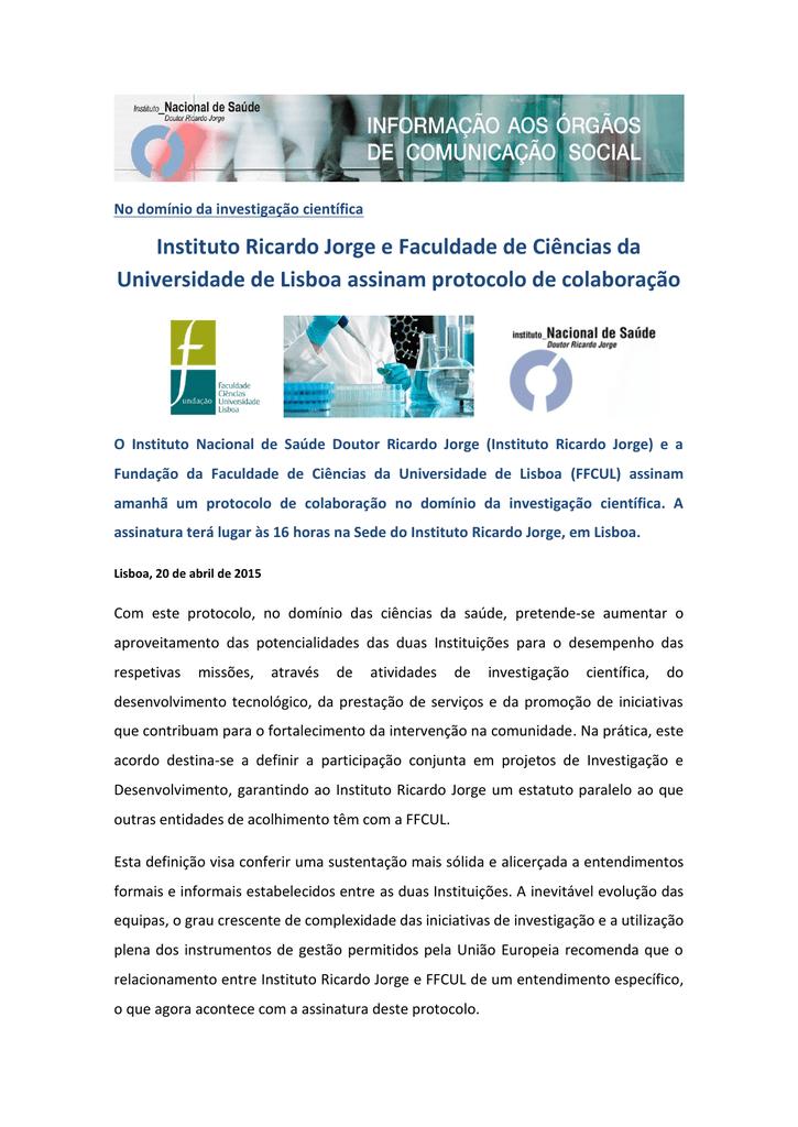 2ca7cb0d177 Instituto Ricardo Jorge e Faculdade de Ciências da Universidade de